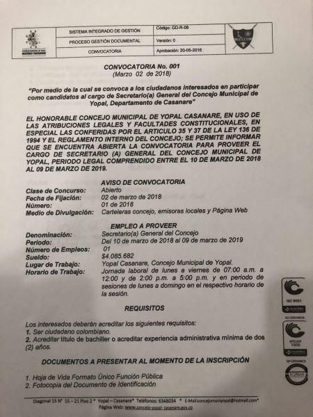 Concejo Municipal Abre Convocatoria Para Eleccion De Secretario A